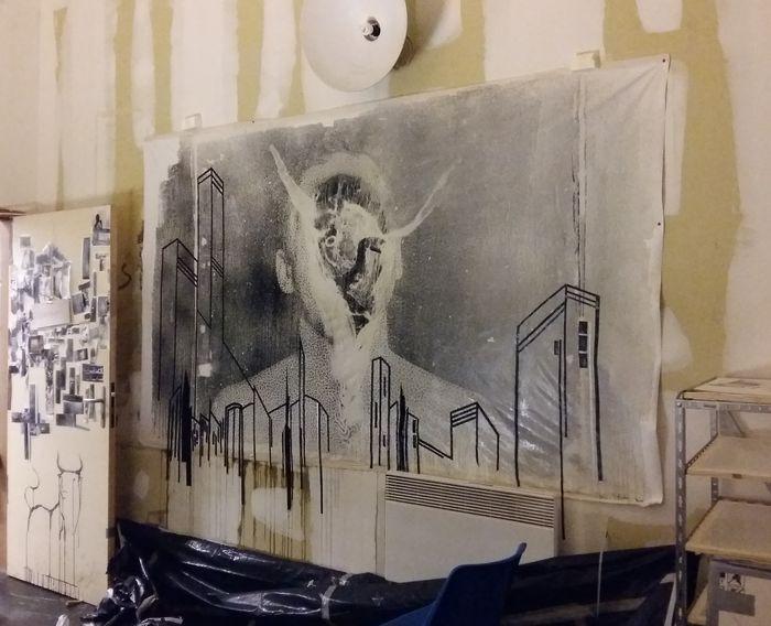 Cette toile est maintenant visible à Quartier Libre, rue des vignes à Saint Michel.