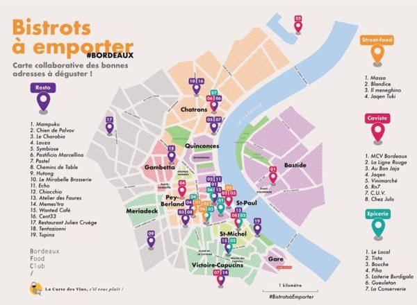 Carte des restaurants et commerces proposant la vente à emporter à Bordeaux